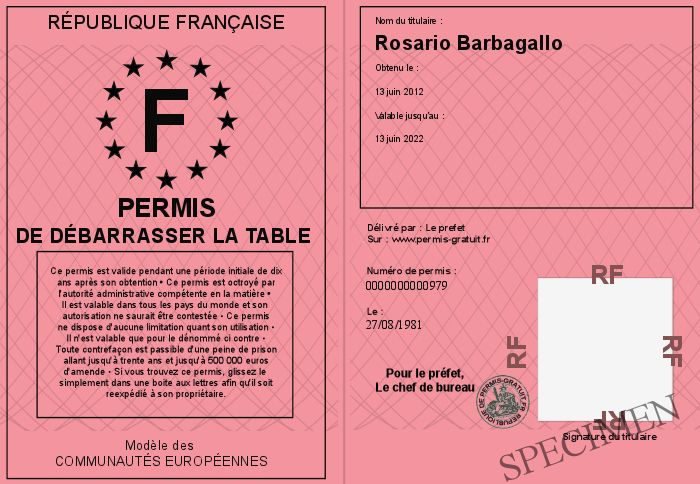 Permis de debarrasser la table - Debarrasser la table en anglais ...